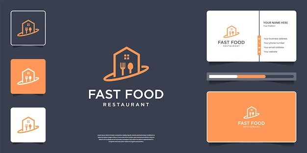 Creatief restaurantlogo-ontwerp met visitekaartje