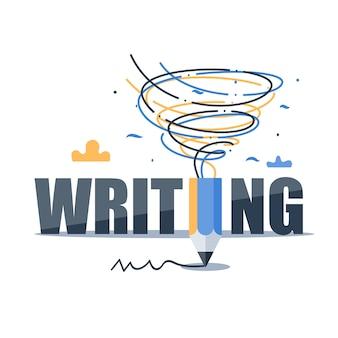 Creatief schrijven, workshop storytelling concept, idee met potlood als tornado, illustratie