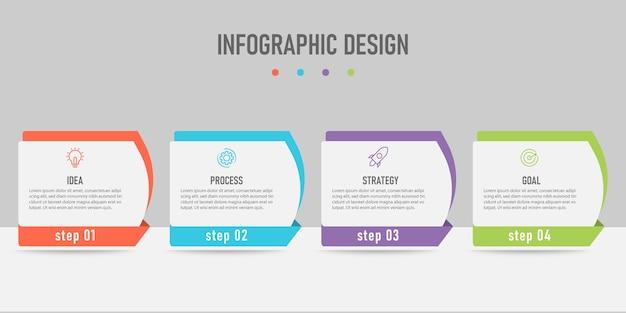 Creatief sjabloon infographic ontwerp met 4 staplijnen