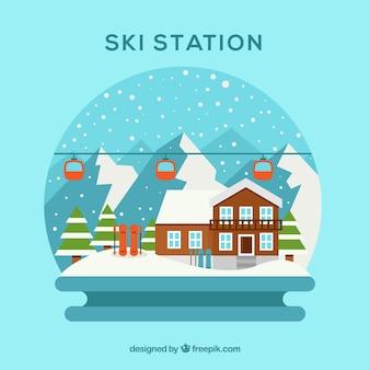 Creatief skiresortontwerp in vlakke stijl