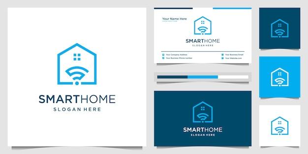 Creatief slim huis met draadloos, signaal, afstandsbediening en startpictogram. innovatielogo en visitekaartje.