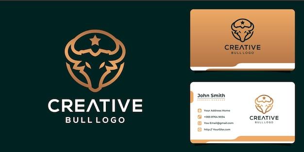 Creatief stierenlogo-ontwerp met monoline-stijl en visitekaartje
