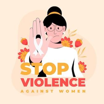 Creatief stop geweld tegen vrouwentekst en geïllustreerde vrouw