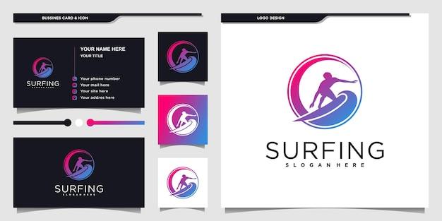 Creatief surfen logo en visitekaartje ontwerpsjabloon premium vekto