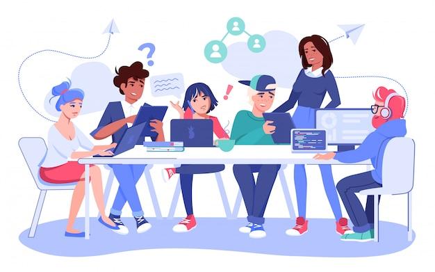Creatief team brainstormen, gedachten delen