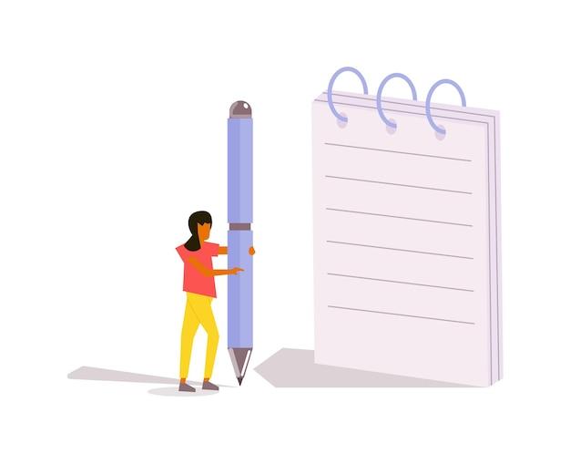 Creatief tekstschrijver vrouw zakelijk of studentenkarakter