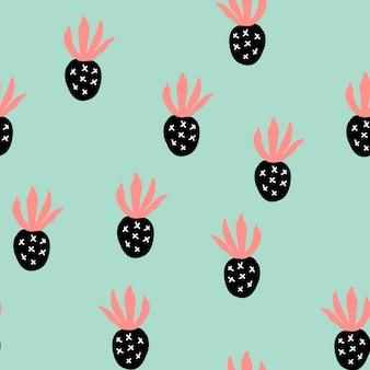 Creatief trendy naadloos patroon met fruit verschillende abstracte ananassen. hand tekenen textuur. vectorsjabloon voor kaarten, banners, bedrukte stof, t-shirt. pastelkleuren.