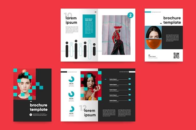 Creatief tweevoudig brochuremalplaatje met modefoto's