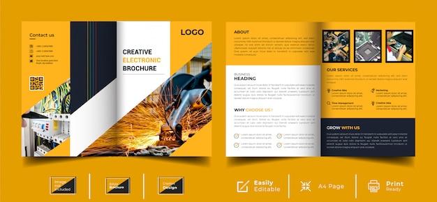 Creatief tweevoudig elektronisch brochuremalplaatje