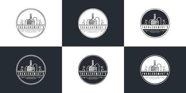 Creatief van distilleerderij logo ontwerpsjabloon met modern concept premium vector