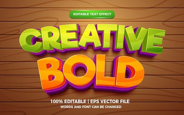 Creatief vet cartoon 3d bewerkbaar teksteffect