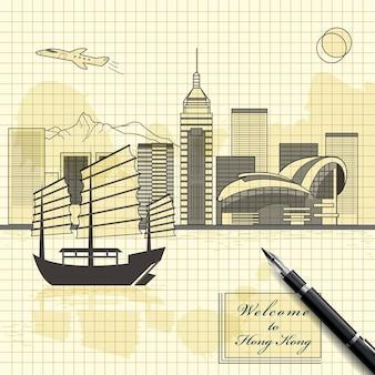 Creatief victoria-havenlandschapsontwerp in schetsstijl