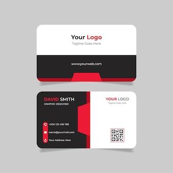 Creatief visitekaartje met rood en zwart