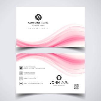 Creatief visitekaartje met roze golven