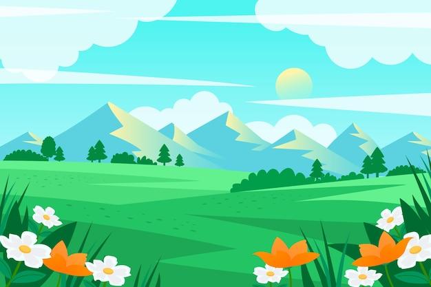 Creatief vlak lentelandschap