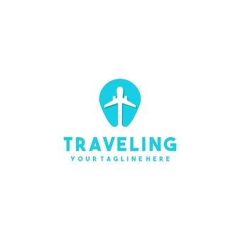 Creatief vliegtuig kaarten logo