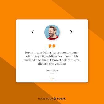Creatief web testimonial ontwerp