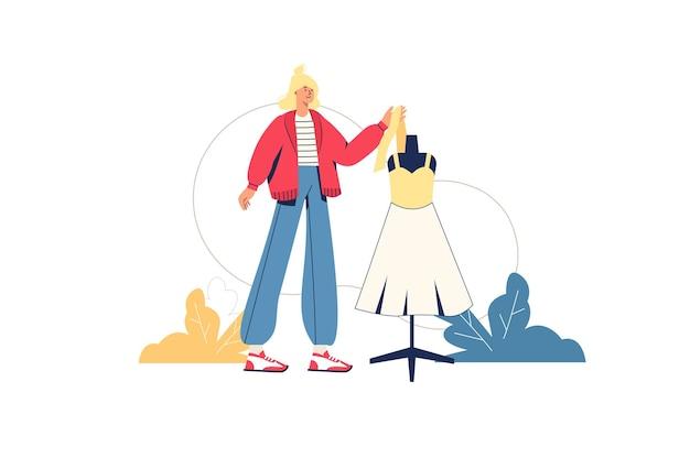 Creatief werknemers webconcept. kledingontwerper maakt outfits. vrouw naait kleding, kleermaker staat naast mannequin in jurk, minimale mensenscène. vectorillustratie in plat ontwerp voor website