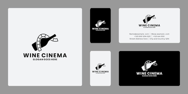 Creatief wijnbioscoop logo ontwerp vector visitekaartje