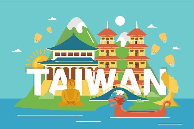 Creatief woord van taiwan met bezienswaardigheden