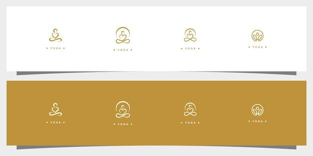 Creatief yoga concept sjablonen icoon en visitekaartje premium vector