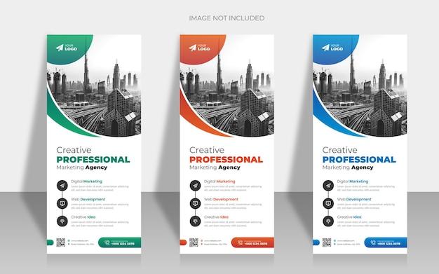 Creatief zakelijk bureau roll-up banner-ontwerp met creatieve vorm of pull-up banner-ontwerp