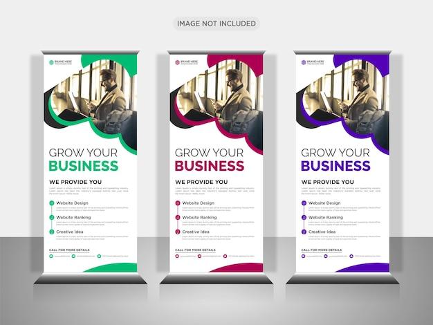 Creatief zakelijk bureau roll-up bannerontwerp of x bannerontwerp