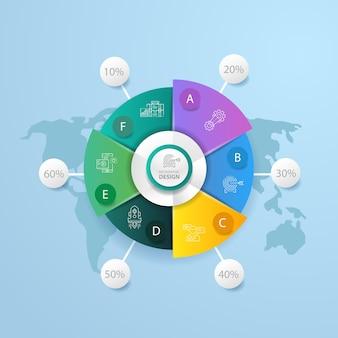 Creatief zakelijk infographic ontwerp en wereldkaartachtergrond.