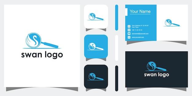 Creatief zwaan concept sjablonen pictogram en visitekaartje premium vector premium vector