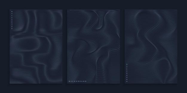 Creatief zwart omslagontwerp met golvende golvende lijnen
