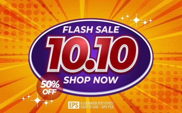 Creatieve 3d-tekst 10.10 flash-verkoopontwerp bewerkbare stijleffectsjabloon