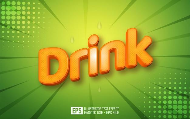 Creatieve 3d-tekst drink bewerkbare stijleffectsjabloon