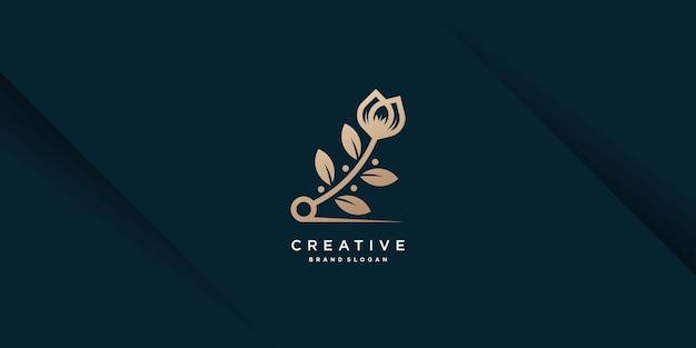 Creatieve abstracte bloem logo ontwerp premium vector