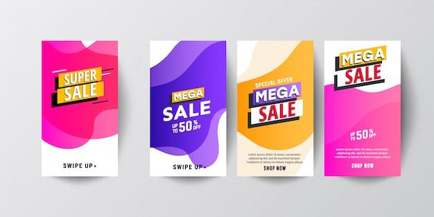 Creatieve abstracte moderne grafische verhalenreeksen. sjabloon instellen met vloeibare moderne verloop banners