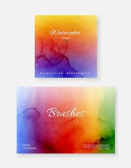 Creatieve abstracte sjabloon achtergrond set met vorm penseel heldere regenboog kleur aquarel vlekken.