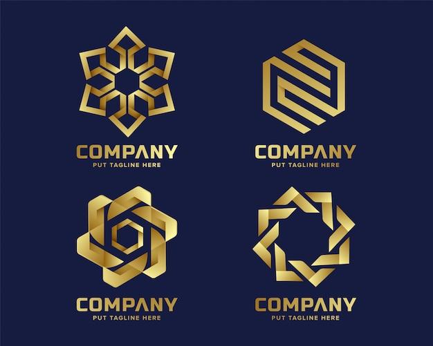Creatieve abstracte zeshoekige zakelijke gouden logo-collectie