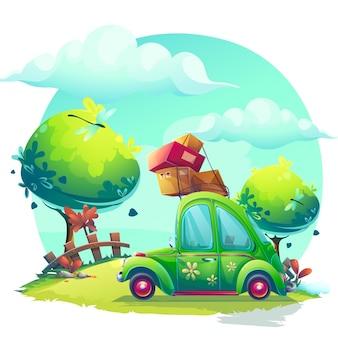 Creatieve achtergrond met groene autoillustratie