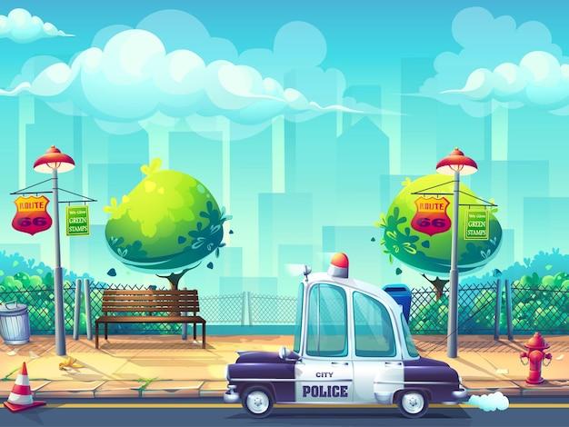 Creatieve achtergrond met politiewagenillustratie