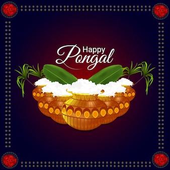 Creatieve achtergrond voor gelukkig pongal-festival van zuid-indisch tamil nadu