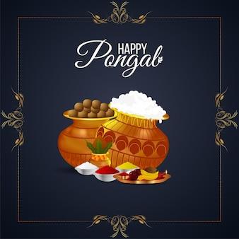 Creatieve achtergrond voor happy pongal met creatieve modderpot en suikerriet