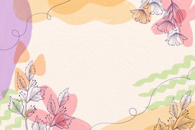 Creatieve aquarel achtergrond met getekende bloemen
