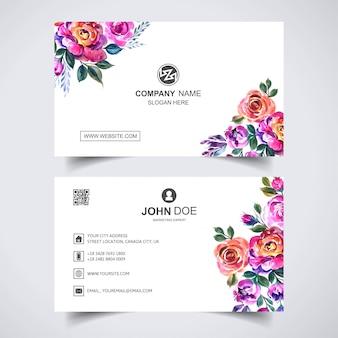 Creatieve aquarel bloem met sjabloon voor visitekaartjes