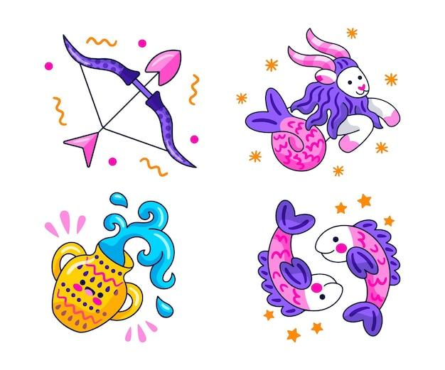 Creatieve astrologische stickers set