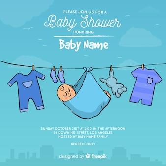 Creatieve baby douchemalplaatje voor jongen