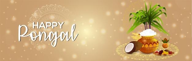 Creatieve banner en modderpot happy pongal-viering