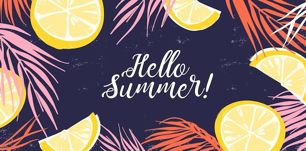 Creatieve banner versierd met handgetekende schijfjes citroen en tropische bladeren.