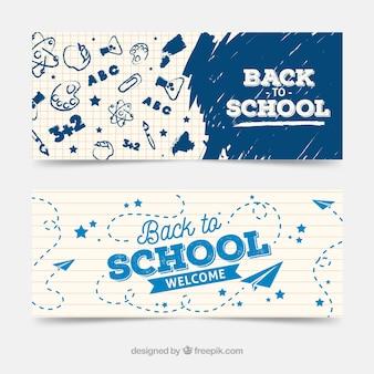 Creatieve banners van terug naar school