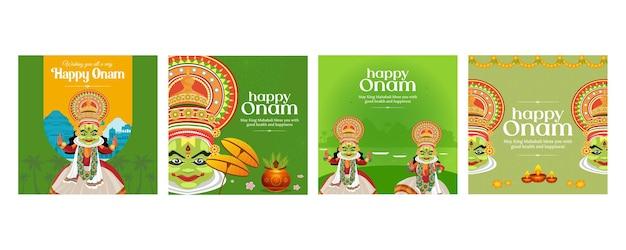 Creatieve bannerset van happy onam-festivalsjabloon