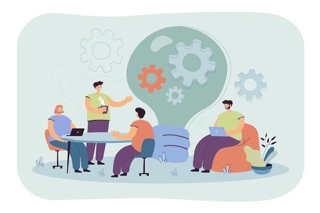 Creatieve beambten bespreken ideeën in team geïsoleerde vlakke afbeelding. cartoon afbeelding