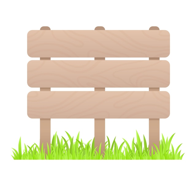Creatieve bedrijfsillustratie van houten hoge omheining met gras op witte achtergrond